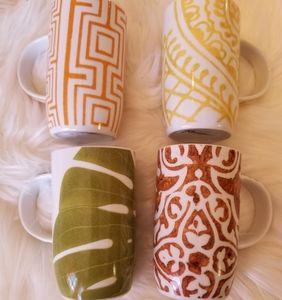 Lux Rosanna art deco set of 8oz coffee/ tea mugs